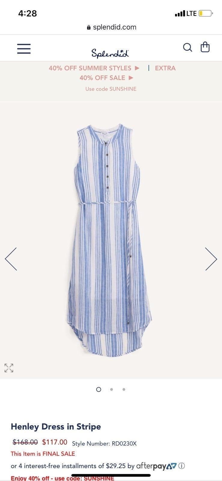 Splendid Linen Striped Dress