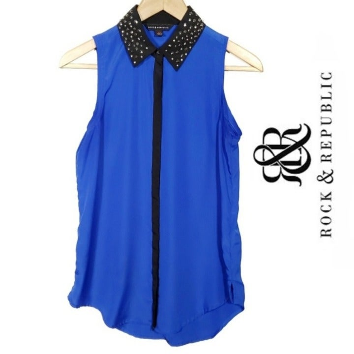 Rock & Republic Blue Studded Tank Top