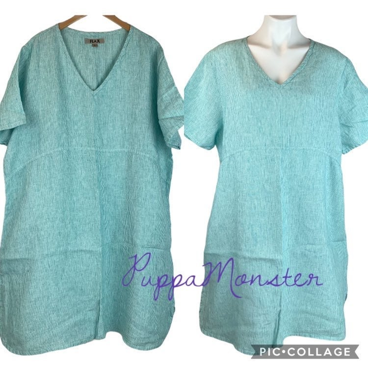 New FLAX Linen Tee Shirt Dress L Green