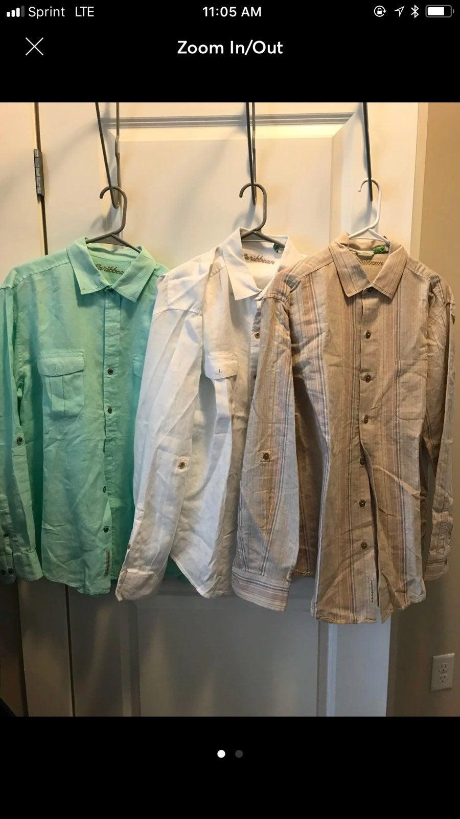 3 Size Large Men's Shirts Linen Cruise
