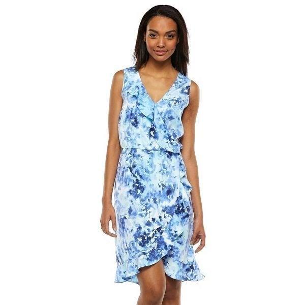 Apt.9 Ruffle Wrap Dress Tie Dye Blue XS