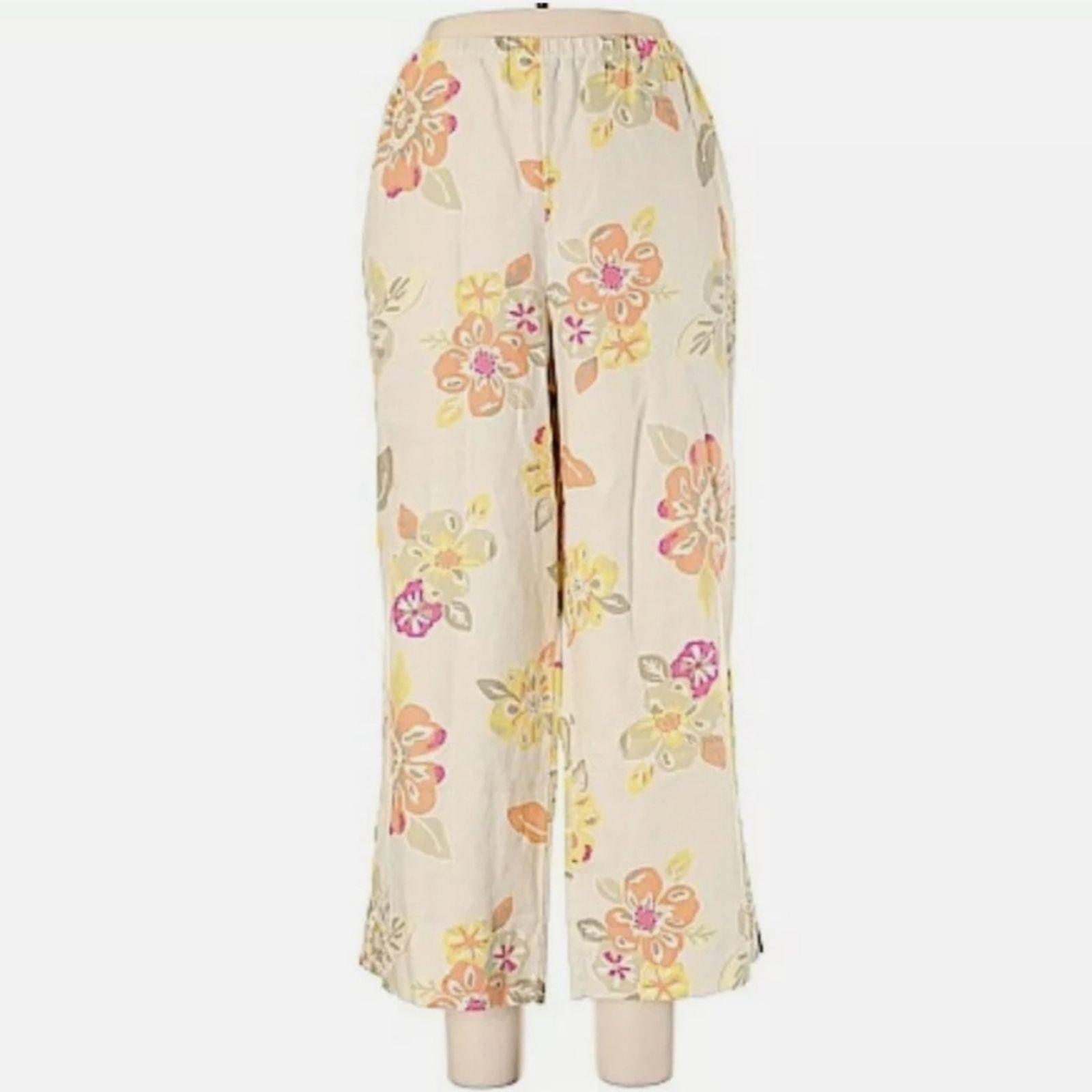 J. Jill Linen Floral Crop Pants Large
