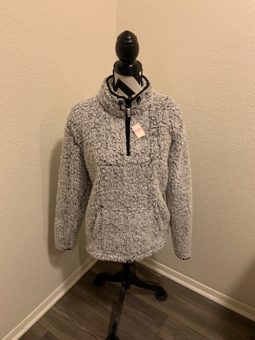 VS PINK Grey Sherpa Half Zip