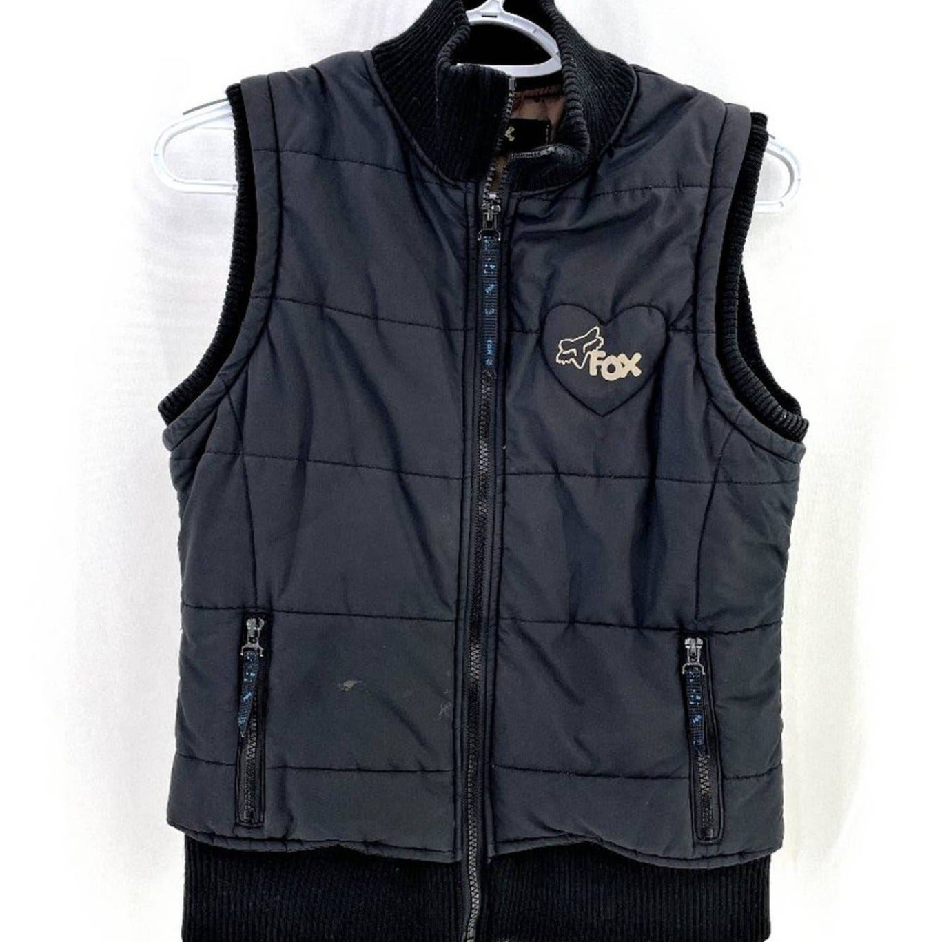 Fox Quilted Puffer w/Logo Print Vest MED