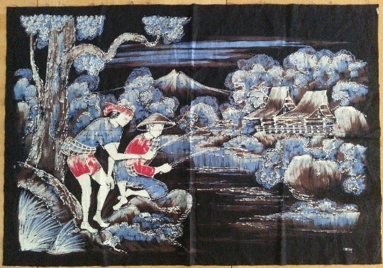 Indonesian Hand Dyed Batik Fabric Panel