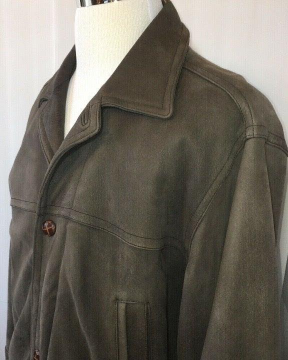 Perry Ellis Leather Jacket Coat Mens L