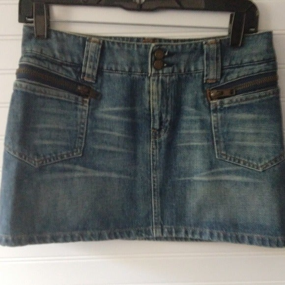 NAF NAF Denim Mini Skirt Zip Pockets