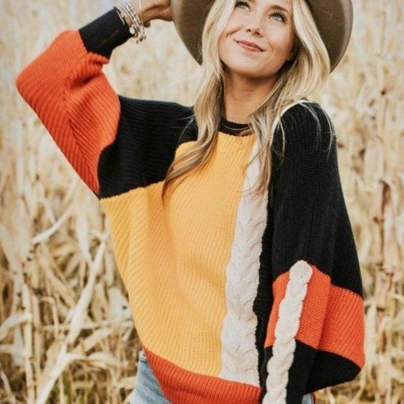 Moon & Madison Colorblock Knit Sweater