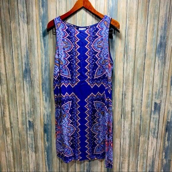 J.Jill Shift Dress sz L 100% Rayon Blue