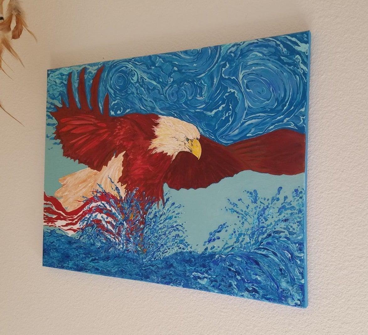"""EAGLE RESCUING AMERICAN FLAG"" ORIGINAL"