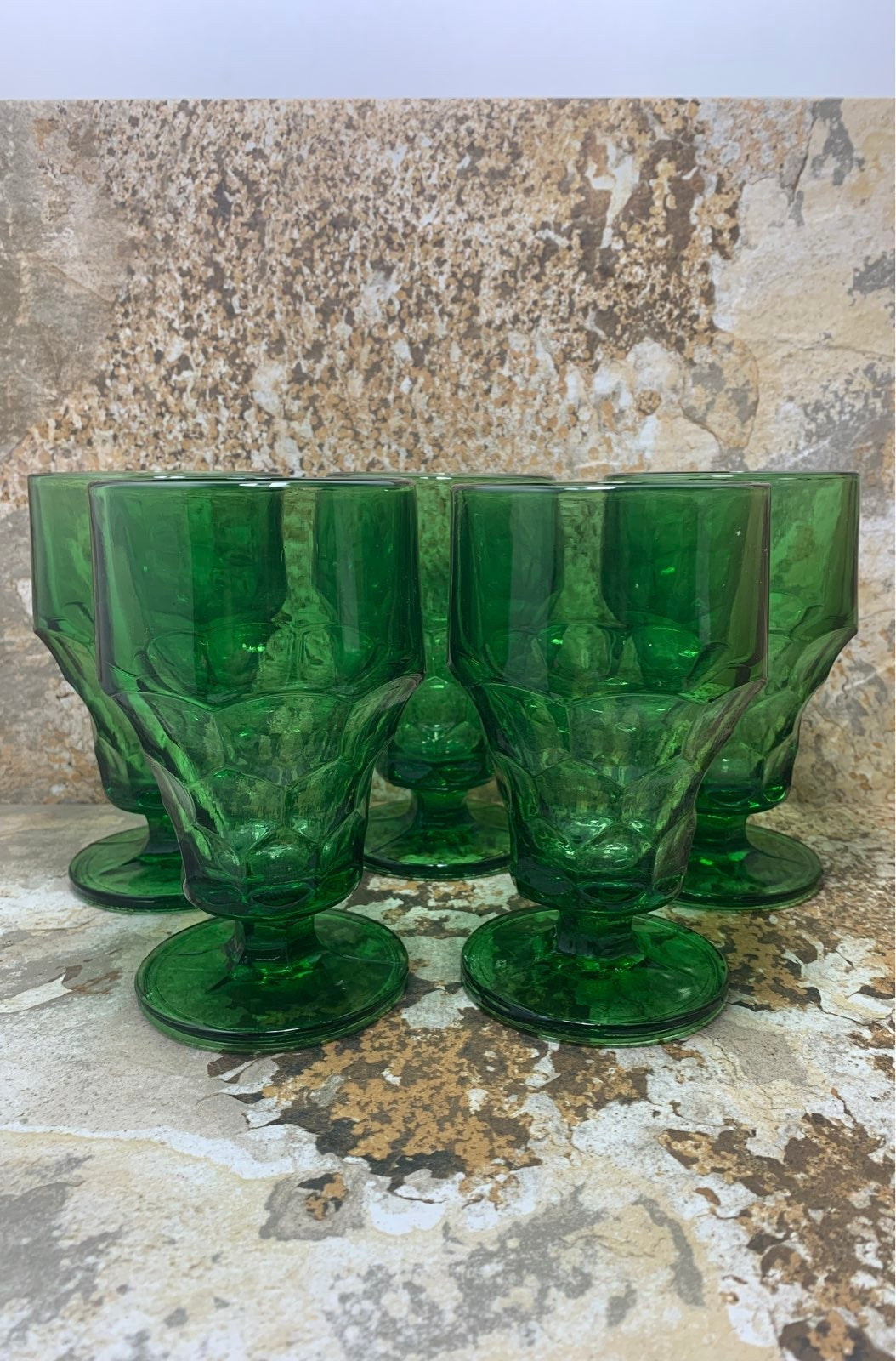 Vtg Set of 5 Green Pedestal Glasses
