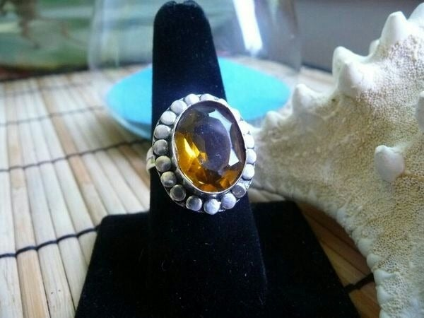 Silver Plated Copper Citrine Ring 7 1/2