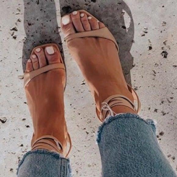 TONY BIANCO Patina Nude Lace Up Sandals