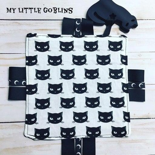 Midnight Goth Cat Teether Tag Toy