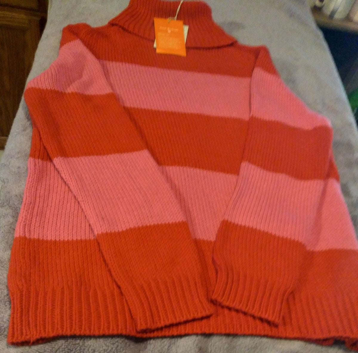 Pink and red woven sweater
