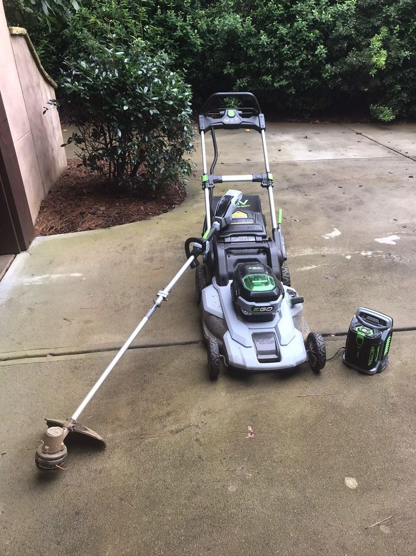 """Ego 21"""" push mower, string trimmer, 56v"""
