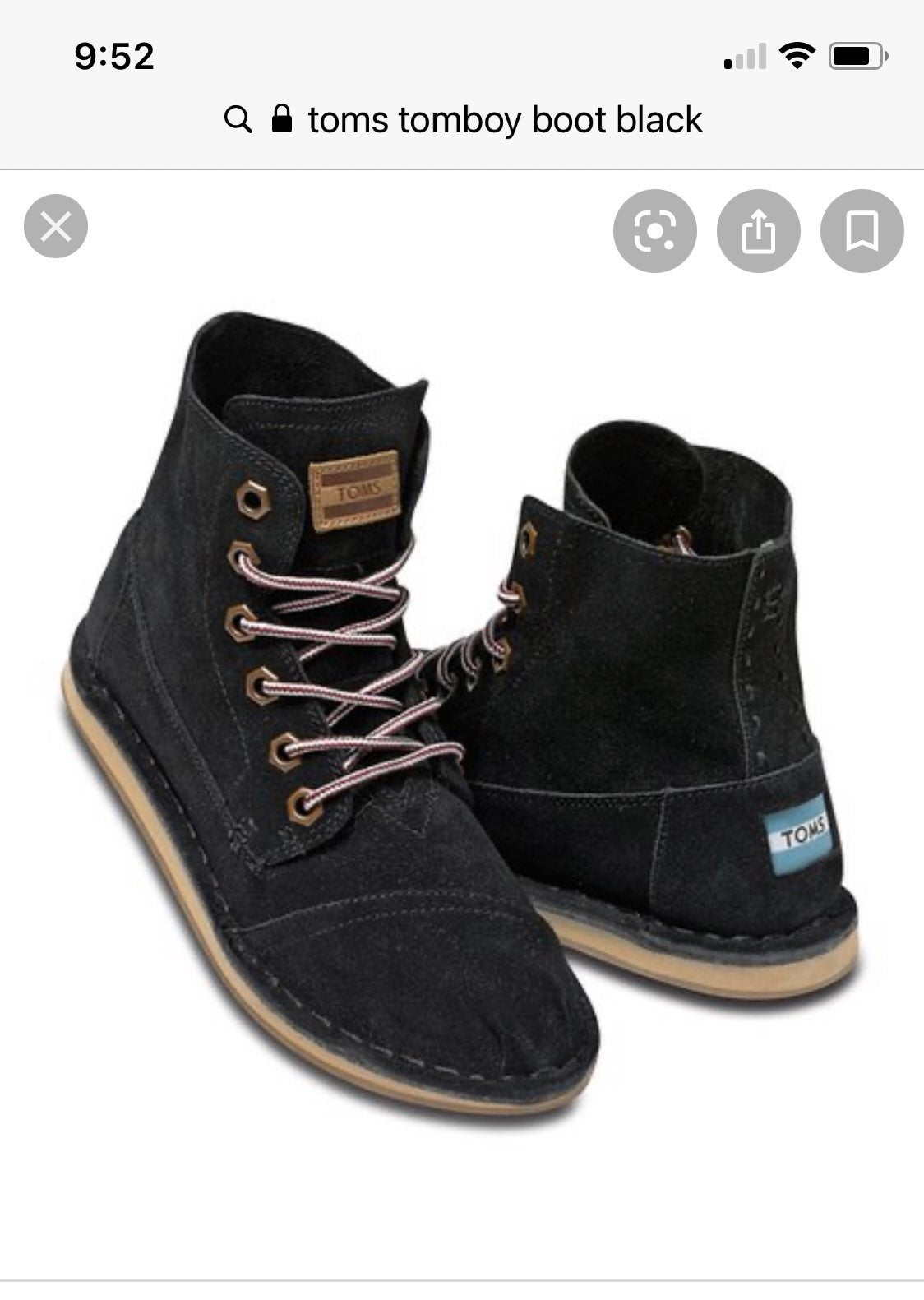 Toms Tomboy Boots 8 black suede chukka
