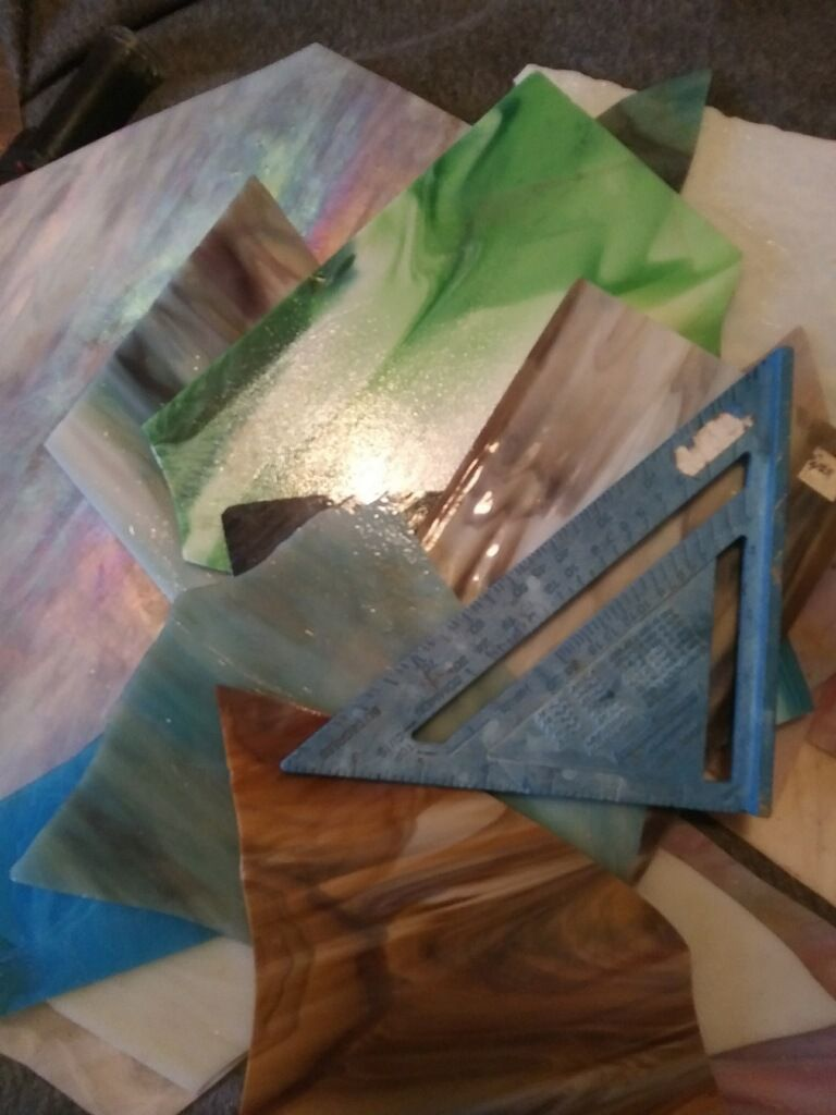 Stained glass pieces - 11 lbs - opaque