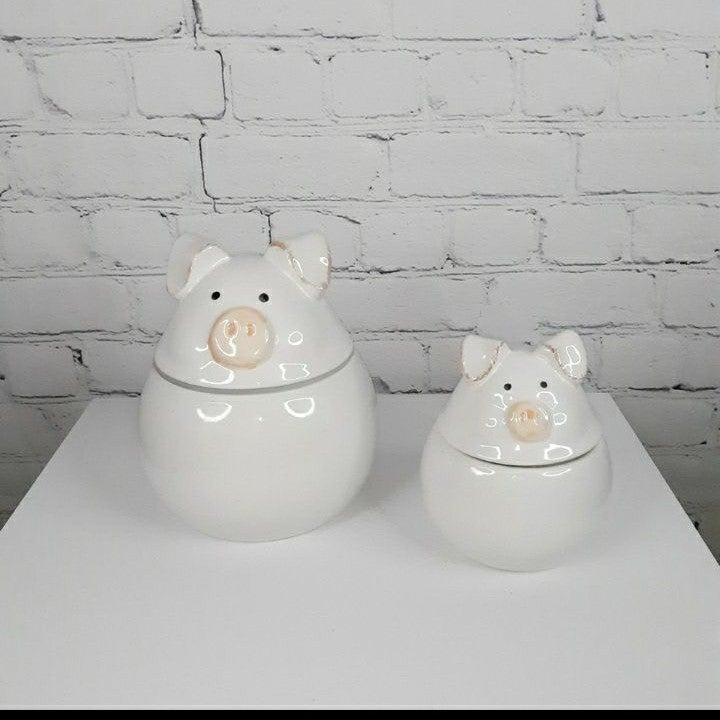 FARMYARD COL.  Ceramic Piggy Cannisters