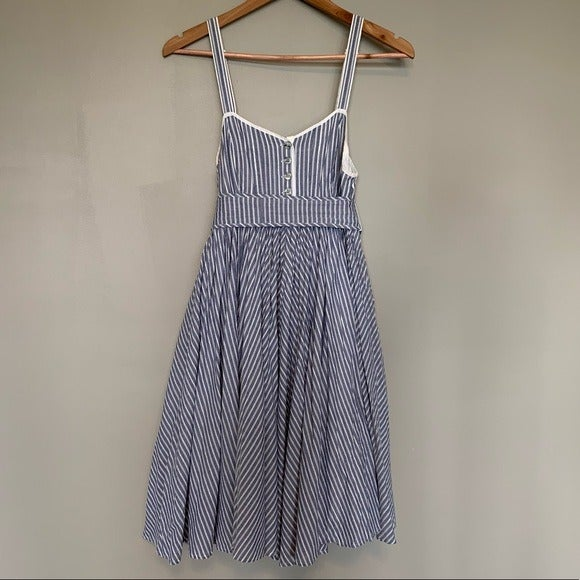 Blue Stripe Empire Full Skirt Dress Lrg