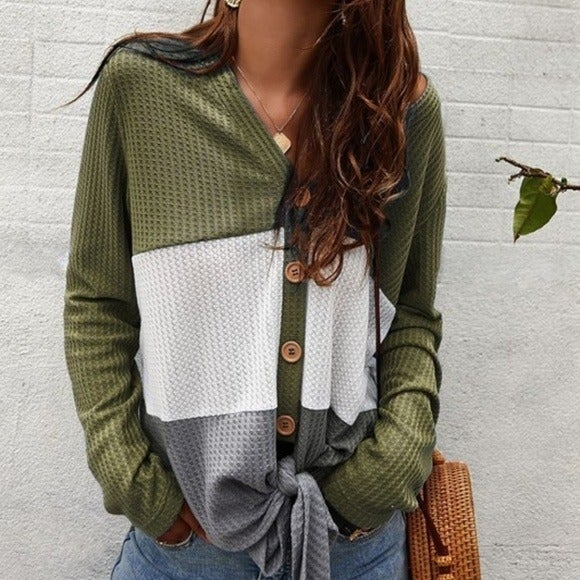 Color Block Waffle Knit Long sleeve Top