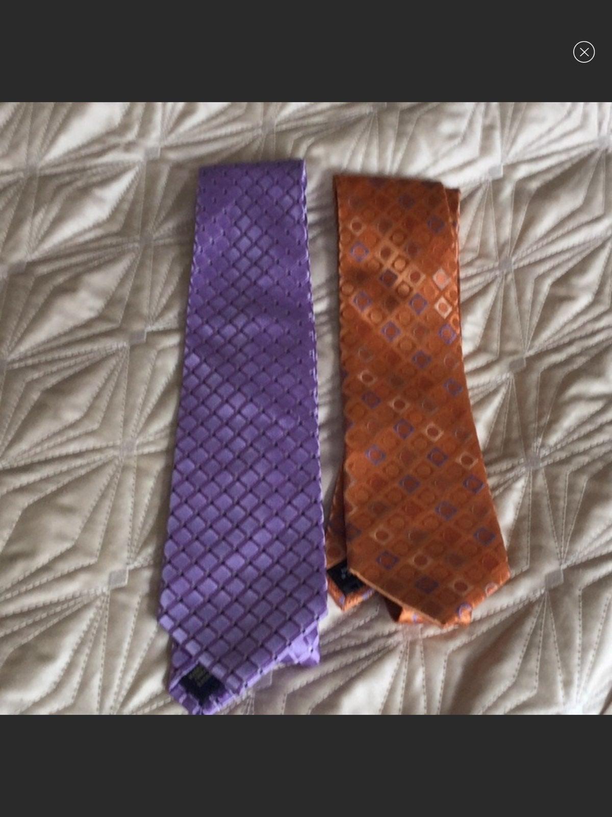 2 Michael Kors silk ties purple and  ora