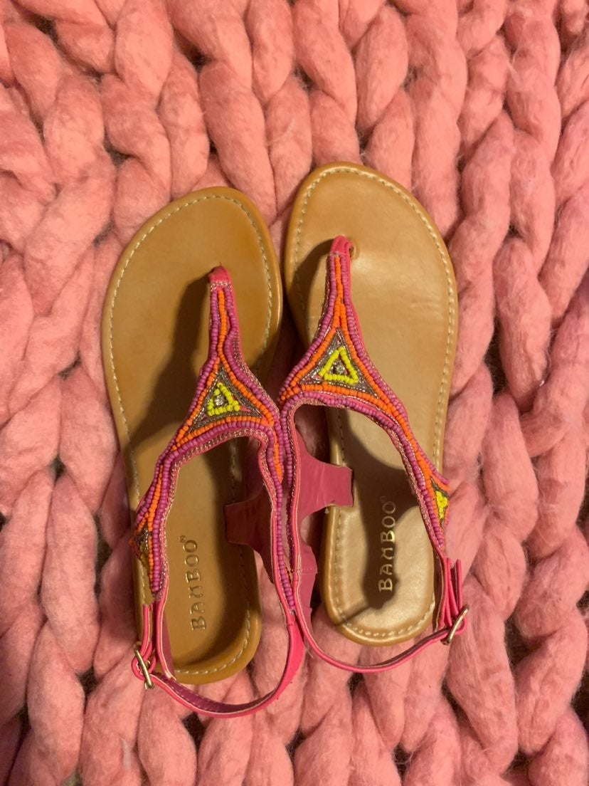 Cute Pink Beaded Sandals