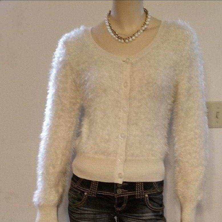 Rewind Soft Fuzzy Cardigan Beige Size L