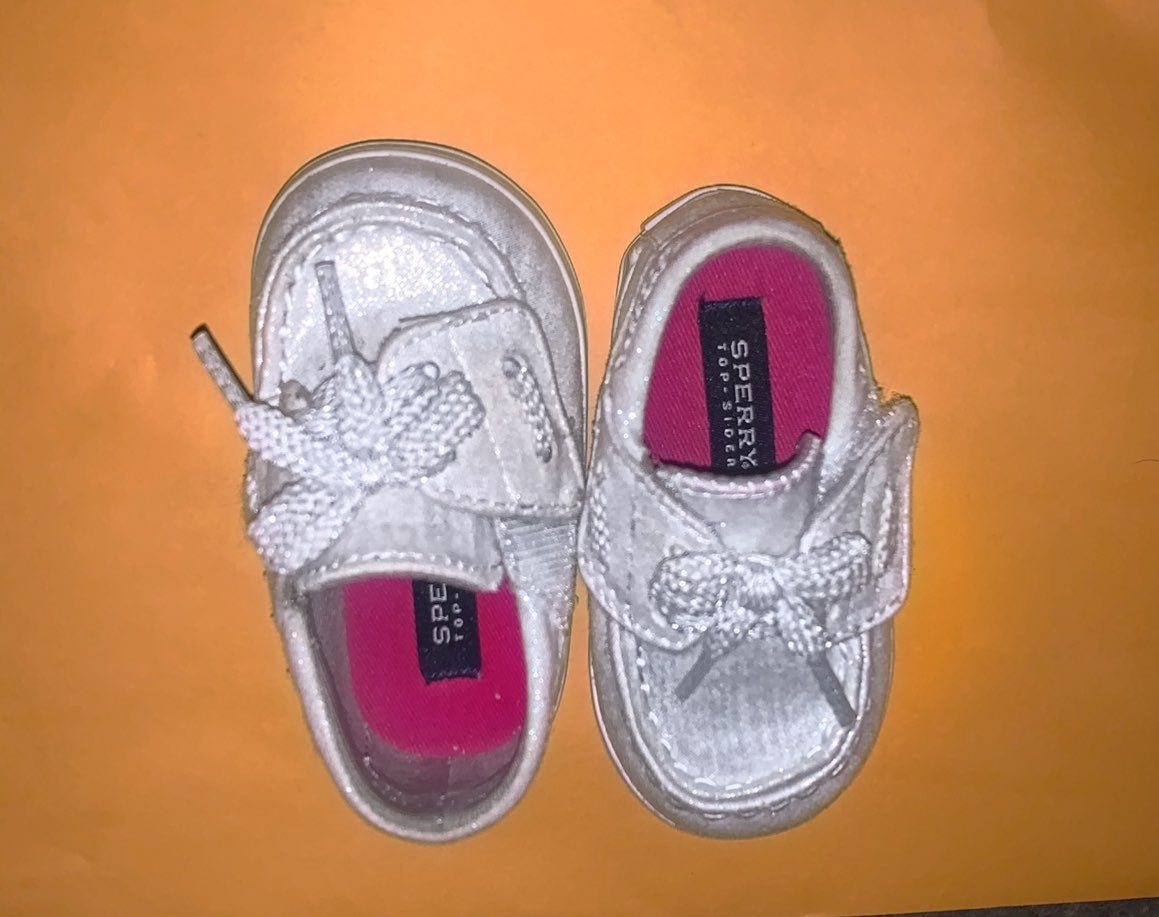 Silver baby sperry shoes