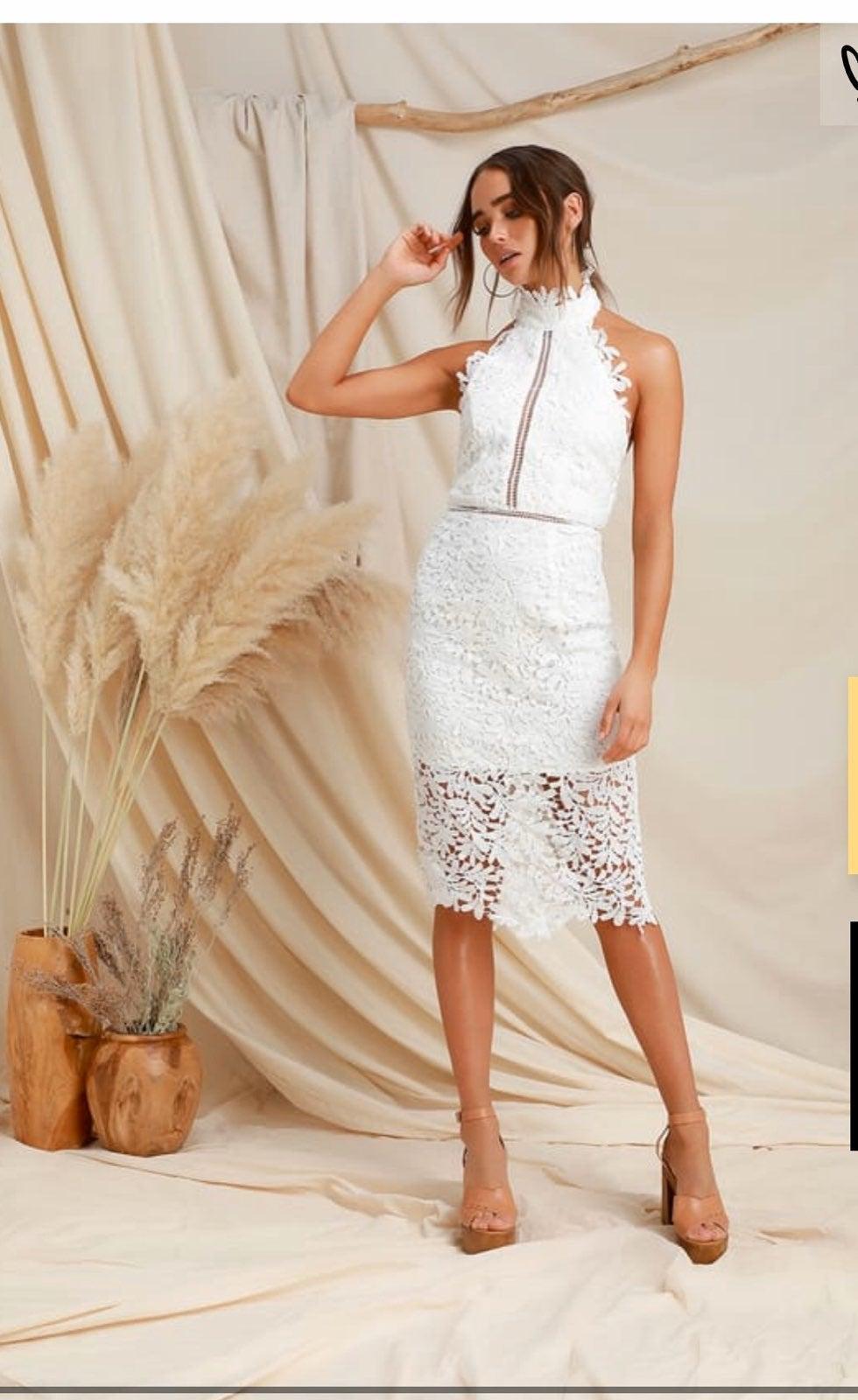 LuLus White Lace Backless Dress