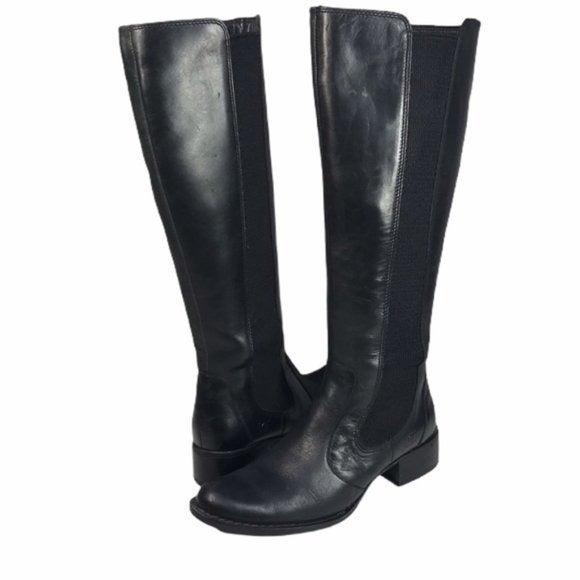 BORN Valentina Black Leather Tall Riding Boot SZ 9