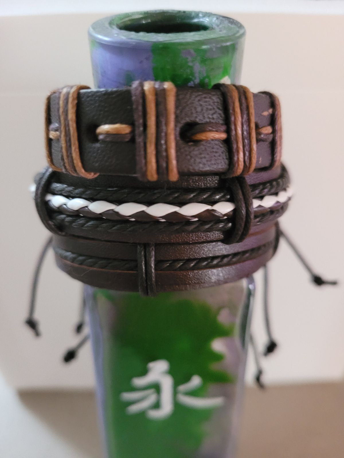 3 handmade leather, unisex bracelets.