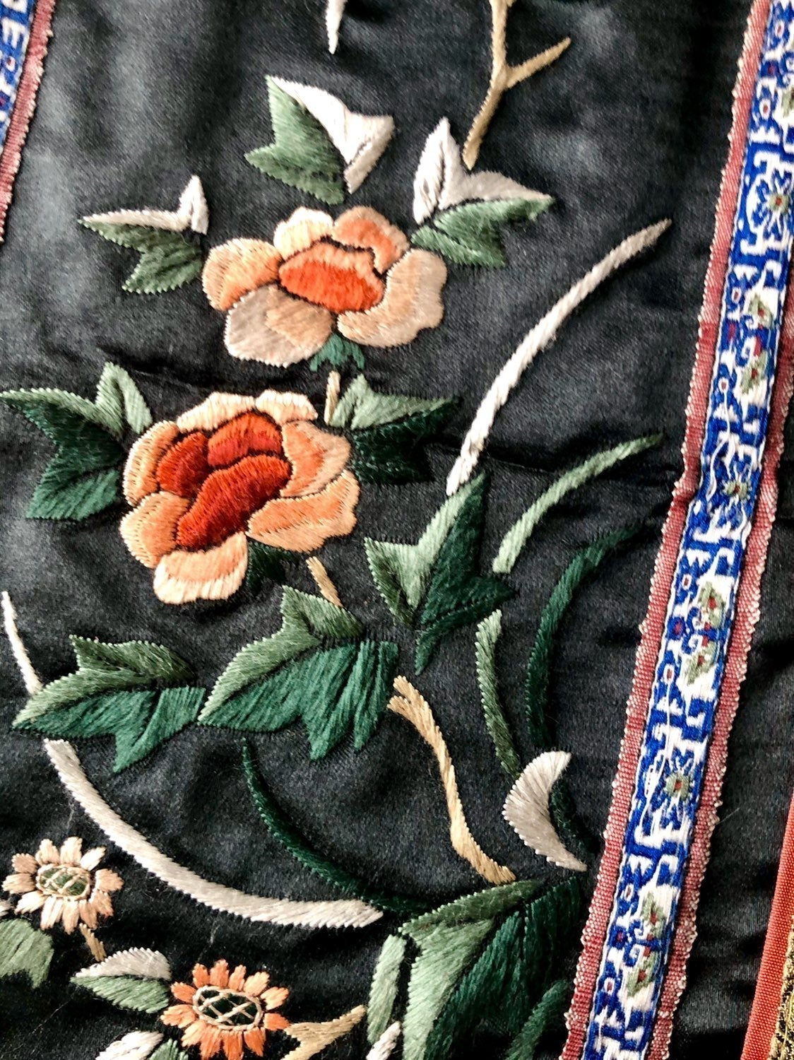 Black Chinese Silk Floral Embroidery Art