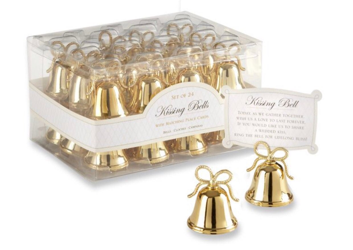 Gold Kissing Bells Place Card Set Of 24