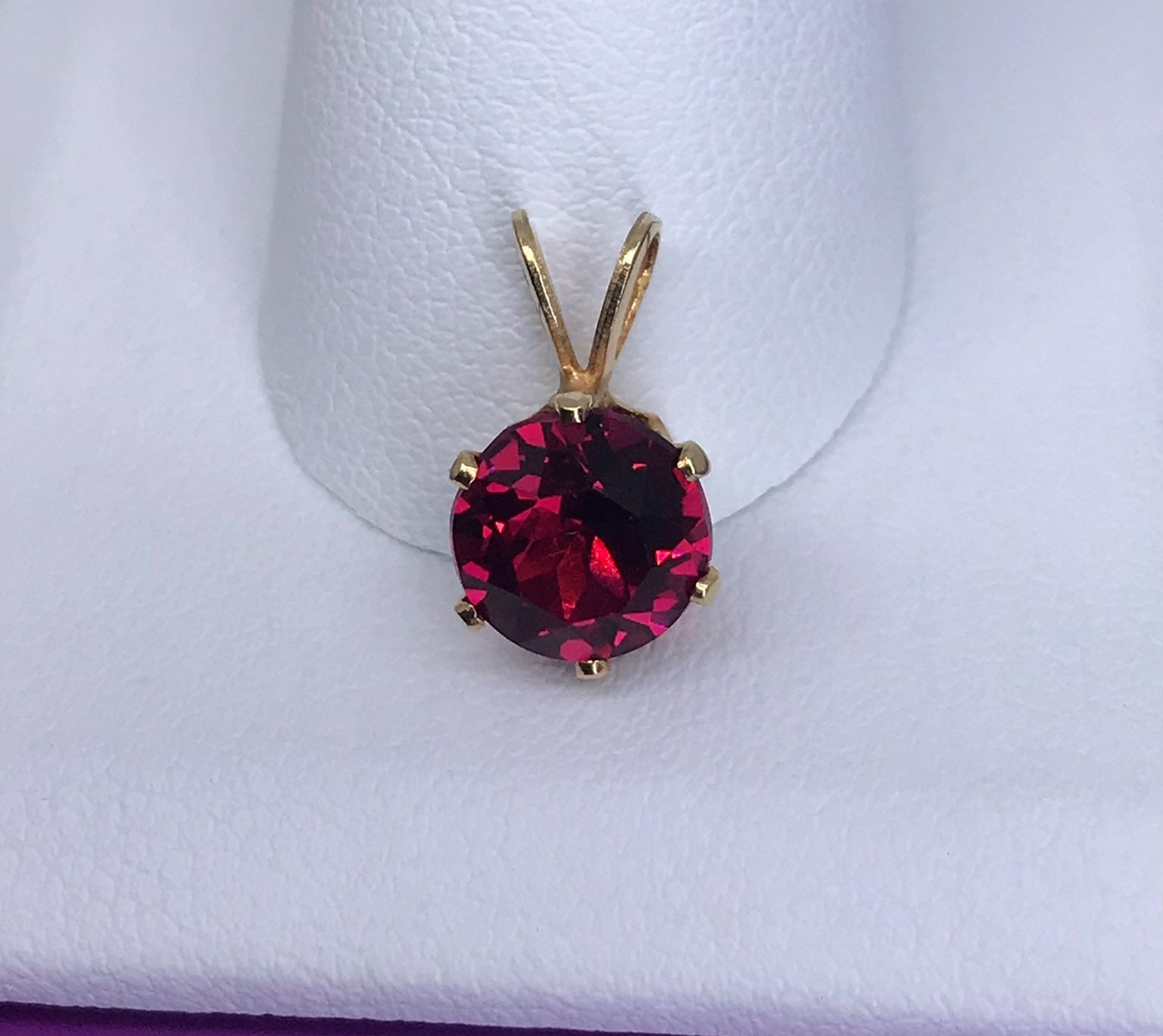 14k SOLID Gold Red Ruby Pendant