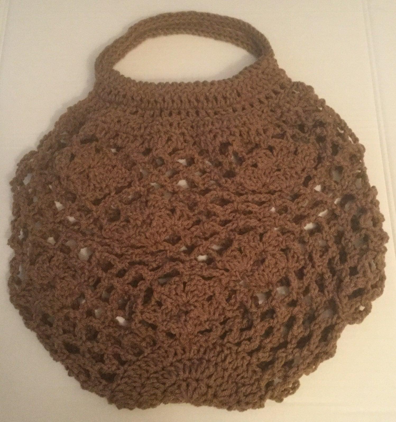 Crocheted open mesh floral shopping bag