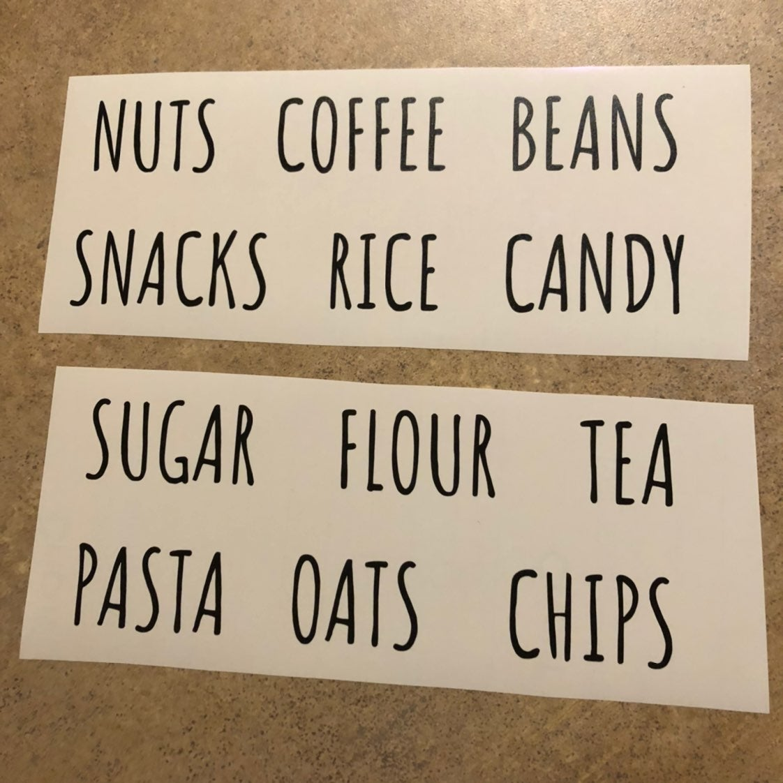 Food organization decals