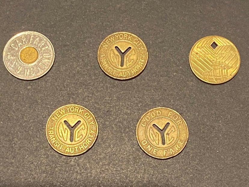 4 Used Souvenir NYC Subway Tokens &bonus