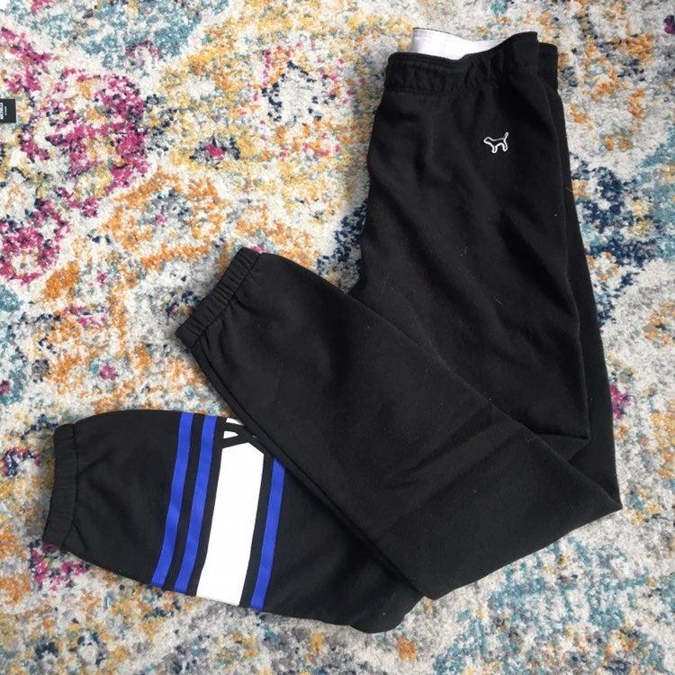 VS PINK | black blue sweatpants XS