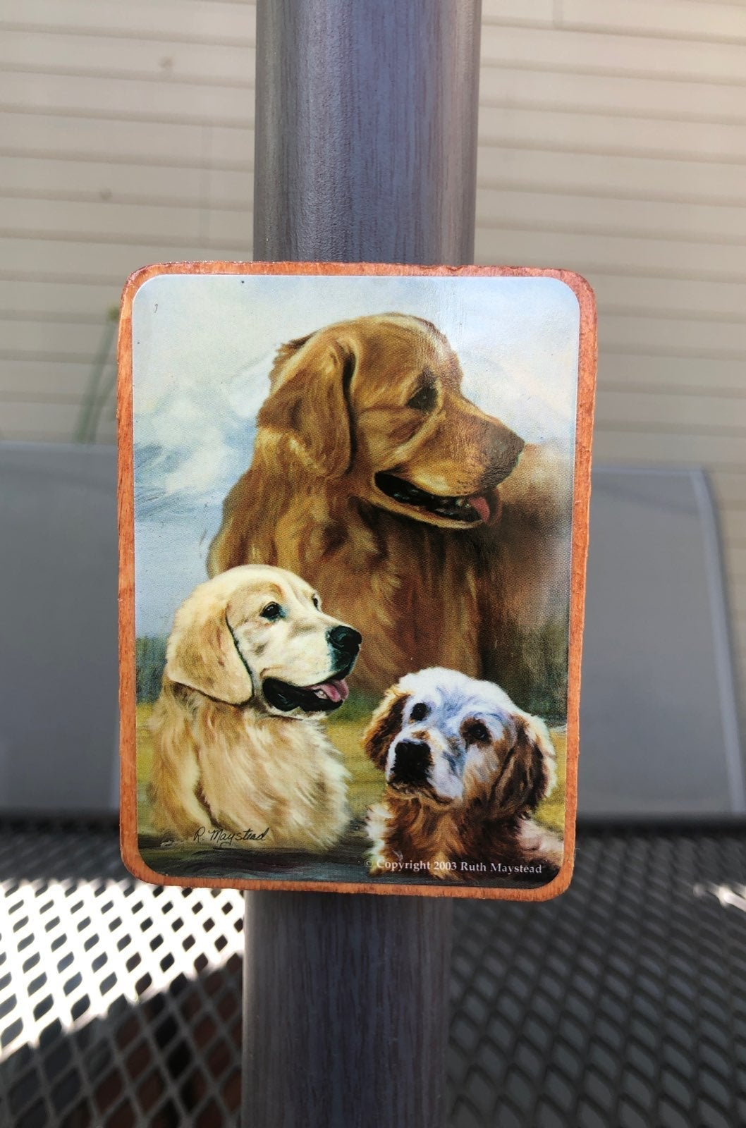 Golden Retriever Dog - Wood Magnet
