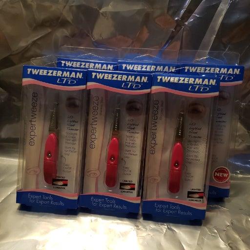 6  Tweezerman  LED lighted slanted  twee