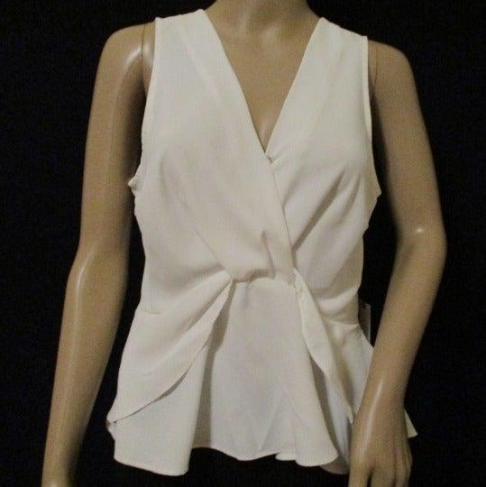 Women's Sleeveless White Ruffle Top