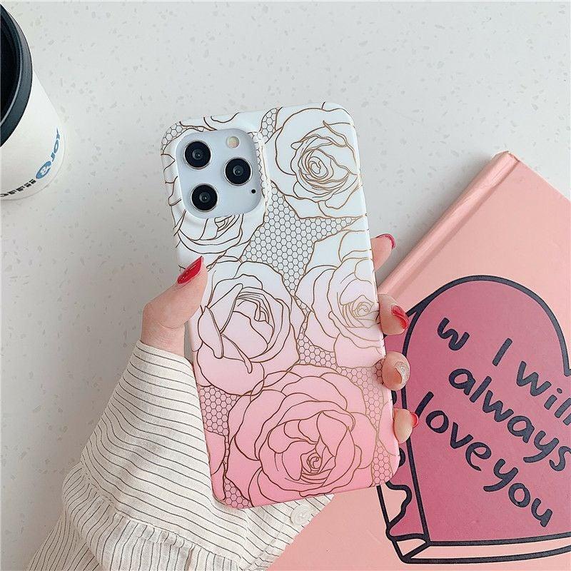 Iphone 12 Pro, 12 case Floral Rose Gold