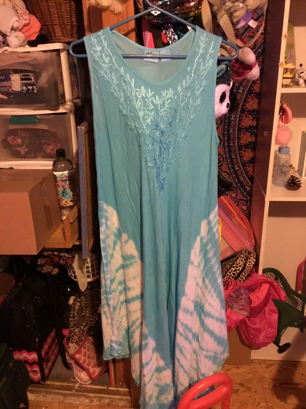 Tye Dye Blue Rayon Dress