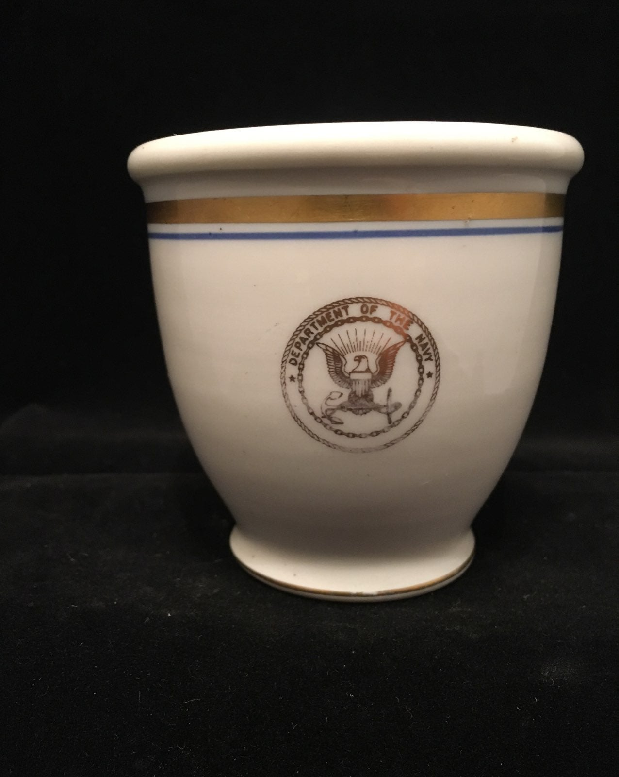 Custard Egg Cup Gold Navy Seal