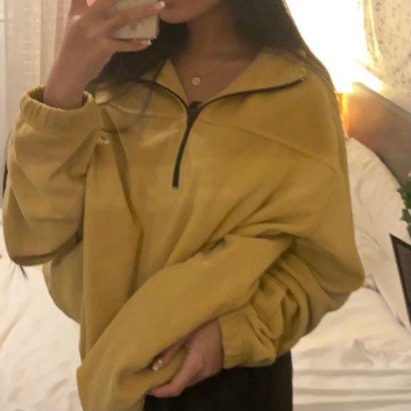 Oversized Yellow Quarter-Zip