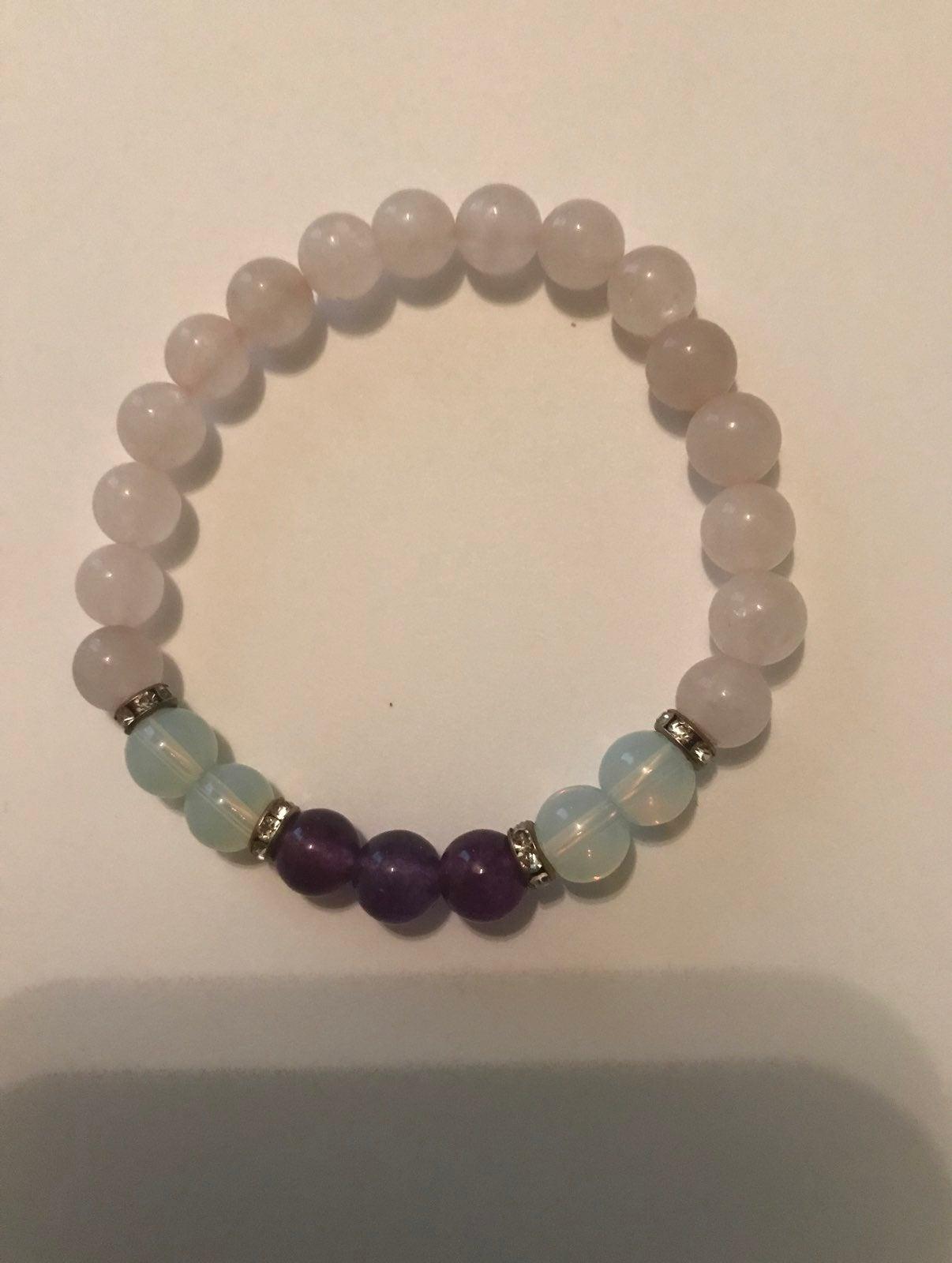 Rose quartz, moonstone And amethyst