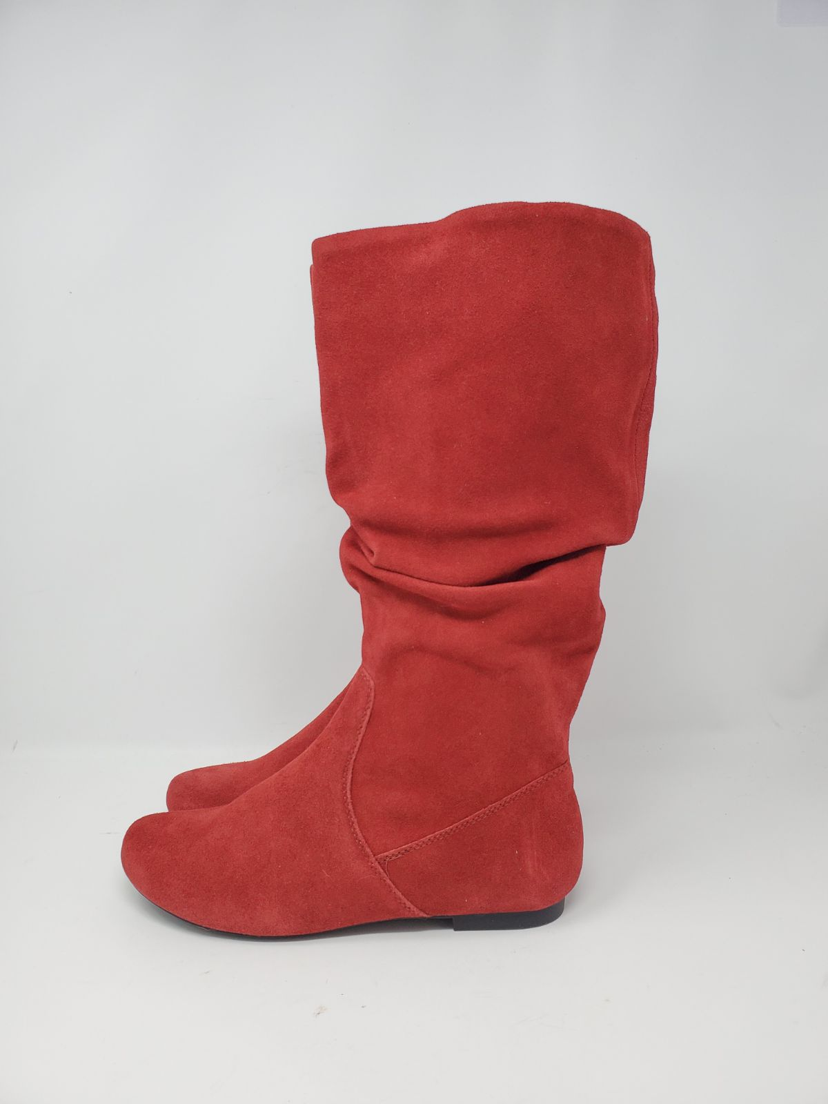Brand new red suede slouch boots