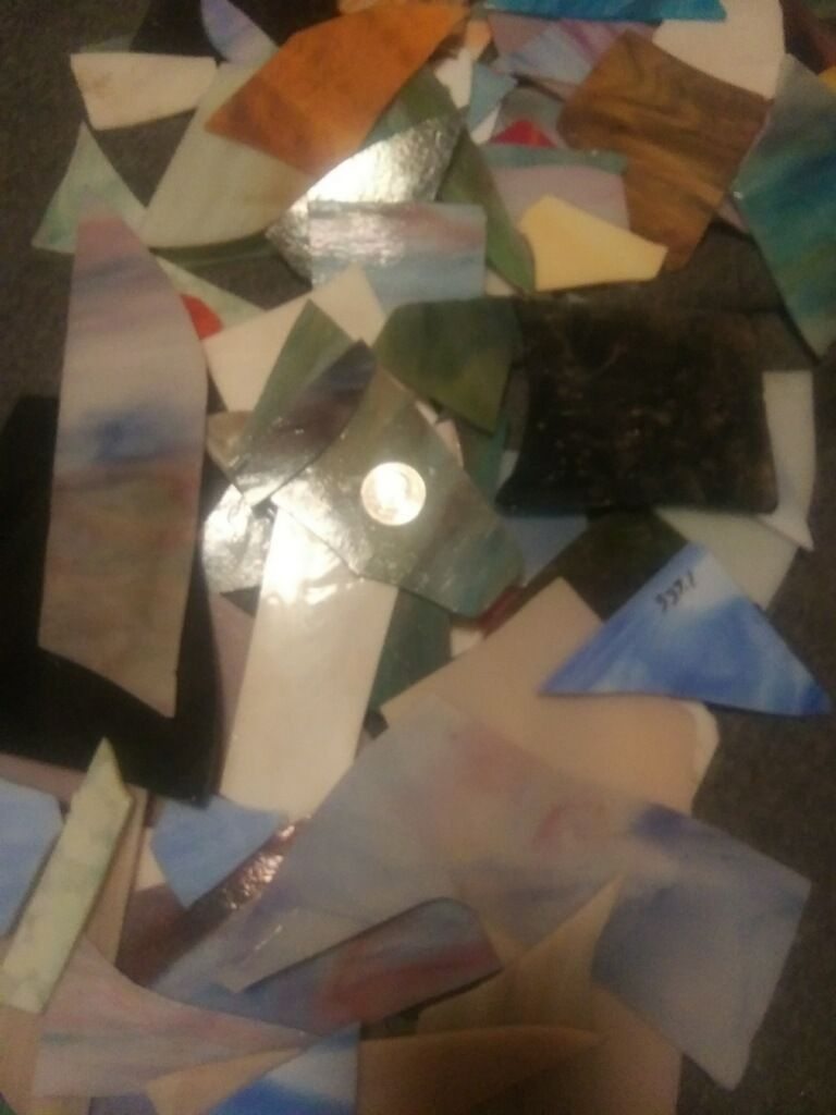 Stained glass scraps - 2 lbs