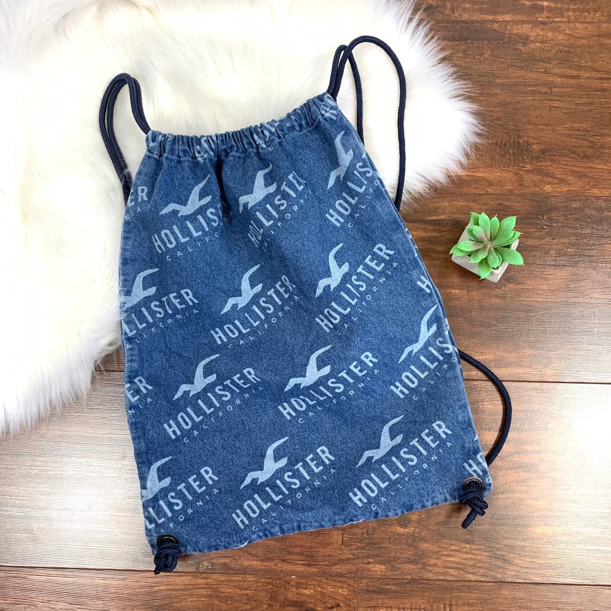 Hollister denim Drawstring Bag